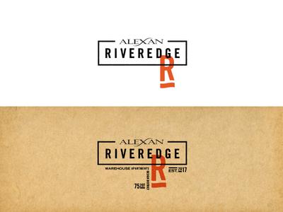 Riveredge Final Logo design district riveredge apartments dallas identity logo warehouse