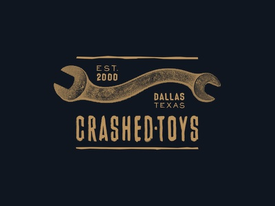 CrashedToys T-Shirt Design dallas salvage cars motorcycles halftone wrench