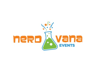 Nerdvana Final scientist experiment chemistry slime party smile kid beaker nerd logo