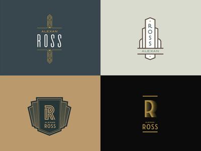 Alexan Ross Logos art deco real estate branding identity logo