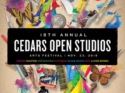 Cedars Open Studios 2019 Poster Detail art supplies collage arts arts festival open studio artists art