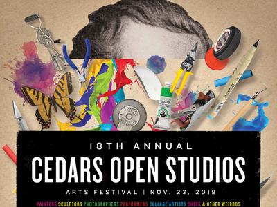 Cedars Open Studios 2019 Poster-Top Half art supplies photoshop poster collage dallas studio tour artists art