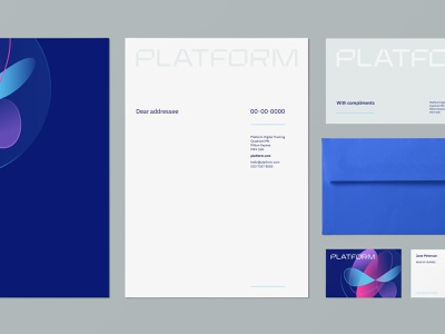 Platform Stationery stationery branding identity brand futuristic paper card business logo grey white blue typography wordmark envelope slip compliment letterhead