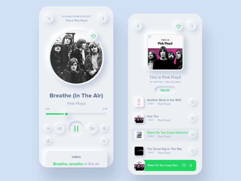 Spotify Soft Design Concept neumorph music ui design design ui ui  ux india