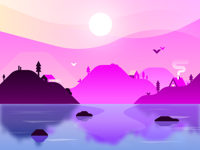 Aeria ❃ trees vector hills water blue yellow pink landscape illustration landscape design landscape graphic design illustration gradient