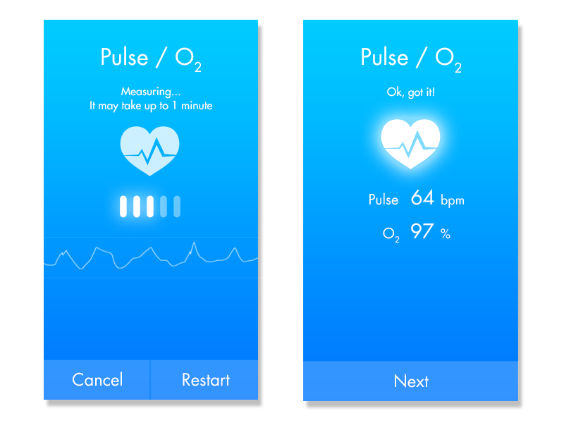 App UI for measuring pulse and blood oxygen levels ux ui flat mobile ios android medical pulse oxygenation