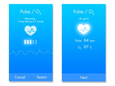 App UI for measuring pulse and blood oxygen levels
