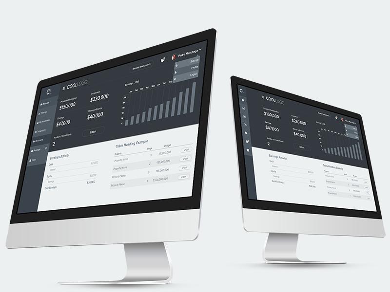 UI - Dashboard with financial metrics, detailed wireframe ui wireframe flat admin dashboard datavis