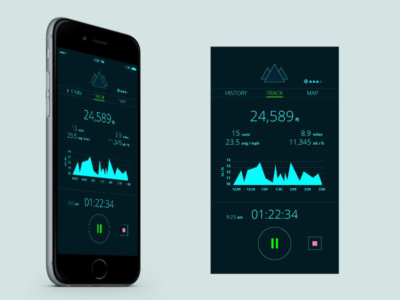 Ski / Snowboard Tracking App UI ui flat ski snowboard geolocation tracker