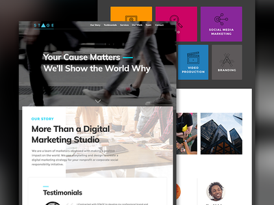 Stage Marketing Homepage ux web design ui web