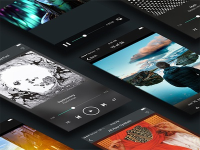 Media player UI isometric mockup ux player media ui mobile
