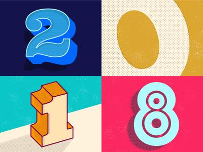 2018 numerals typography illustration design