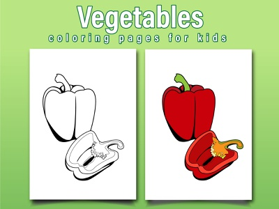 Vegetables Coloring Page For Kids vegetables capsicum illustration coloringpages coloringbook coloring