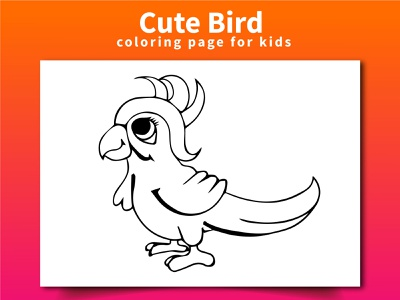 Cute Bird Coloring Page For Kids animal branding vector ui logo bird design illustration coloringpages coloringbook coloring
