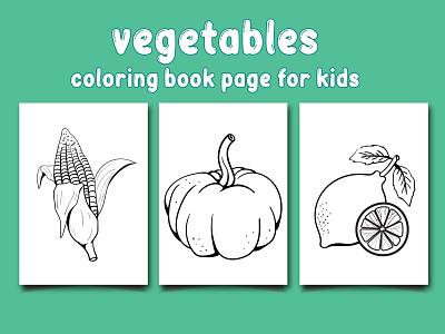 Vegetables Coloring Book Page For Kids vegetables vector ui logo branding design illustration coloringpages coloringbook coloring