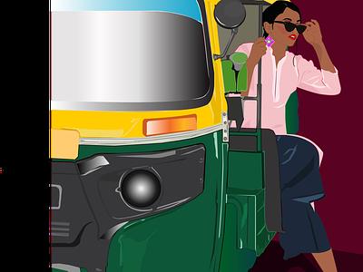 MISS RAO poser design india digitalart illustrator tuktuk fashionblogger vectorart details illustration