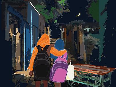 ALLIANCE vectorart friends details illustration innocence childhood illustrator digitalart friendship