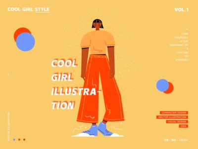 Cool girl style 1 illustration ui