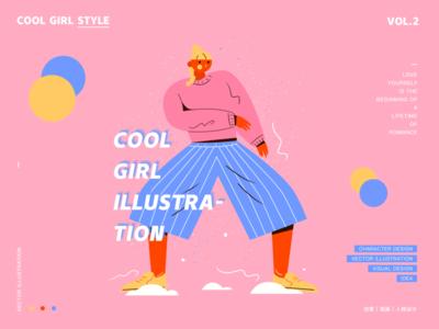 Cool girl style 2 illustration ui