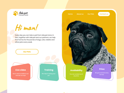 Ado.pet. Find your friend flat website app branding web ux ui design