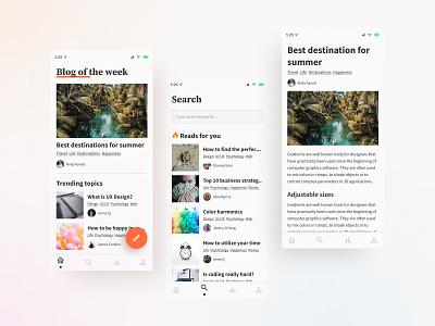 Blogging app clean ui mobile design application minimal uiux ui design blogging blog