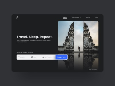 Travel landing page - UI Concept dark theme dark ui minimal travel ui above the fold landing page website design uiux ui