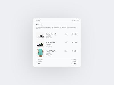 Email receipt | Daily UI 017 ui design daily ui 017 ui challenge daily ui minimal web design uiux design ui email receipt receipt email