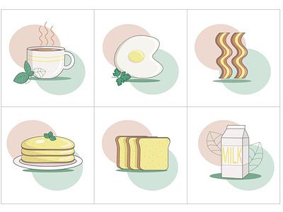 icons breakfast helpful tasty morning health icons eat pancakes bacon tea milk breakfast foot icon illustraion