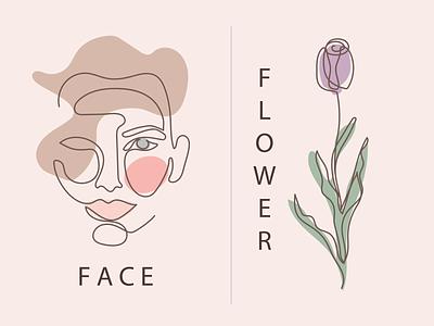 One line art flower face illustration