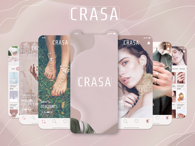 Mobile application of the online jewelry store designer jewelry online store mobile application branding logo figma design ux ui