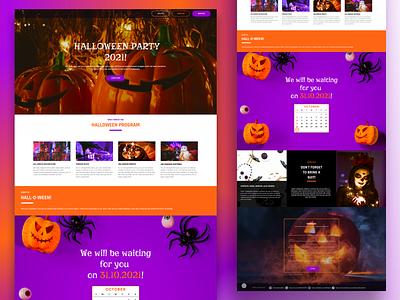 One-page website Halloween Party design landing party halloween party halloween holiday halloween website ux figma ui produkt gesign