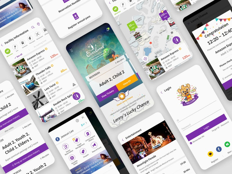 Everland S-Ticket Mobile APP ux gui ui graphic design illustration app application mobile ios android