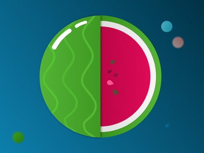 Watermelon blue white red green drawings ipad affinity designer vegetable fruit