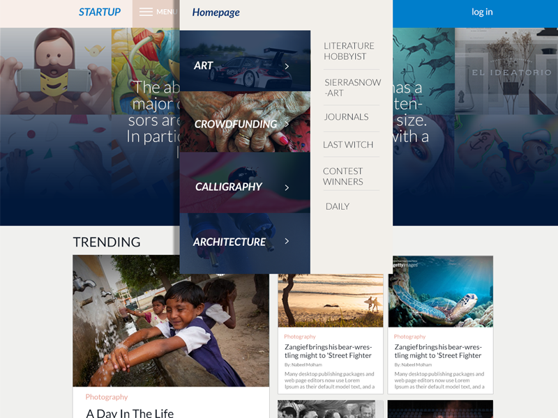 Startuf experience user news social content design website ux ui