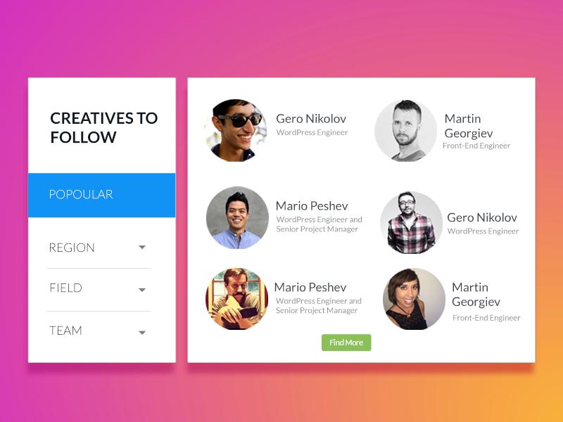 startuf - creatives to Follow creative experience user news social content design website ux ui