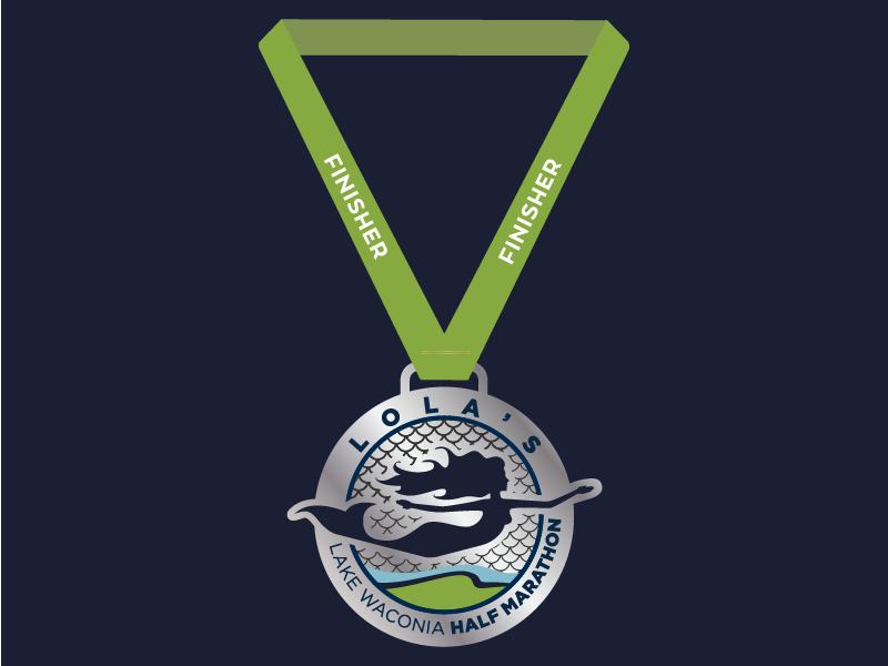 Lola's Lake Waconia Half Marathon Finisher Medal mermaid badge scales medal minnesota race marathon