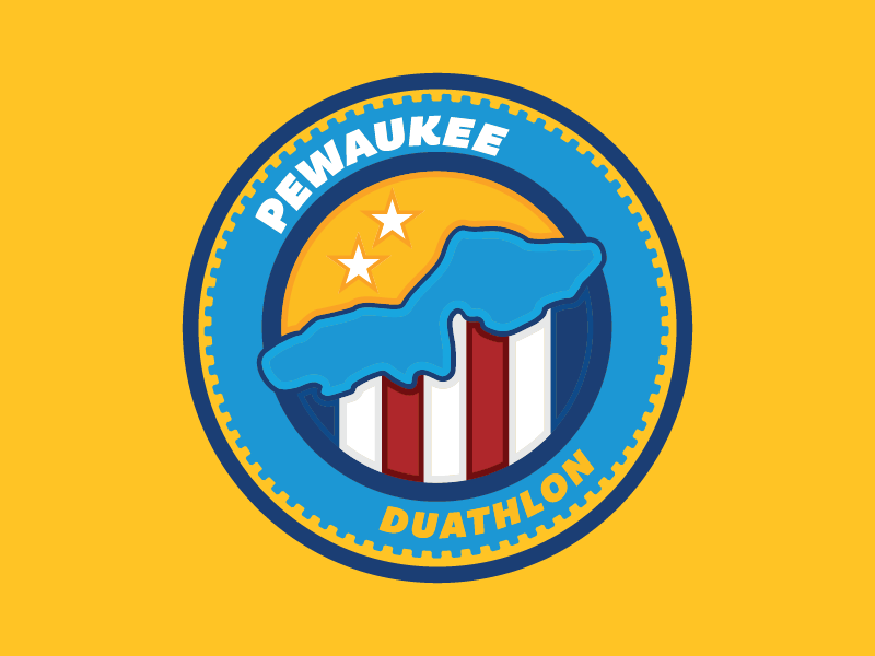 Pewaukee Duathlon stripes gear running logo circles lake wisconsin cycling duathlon badge