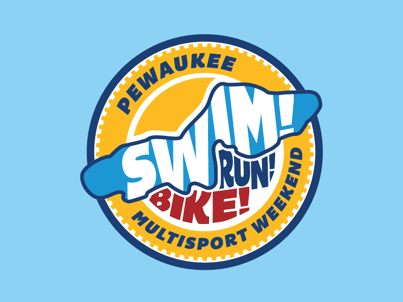 Pewaukee Multisport Weekend gear running logo circles lake wisconsin cycling triathlon duathlon badge