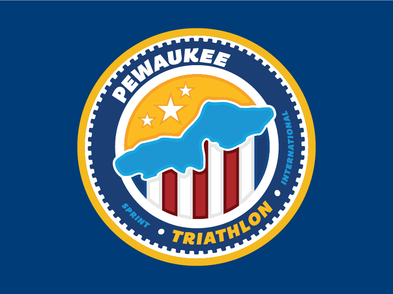 Pewaukee Triathlon gear running logo circles lake wisconsin cycling triathlon duathlon badge
