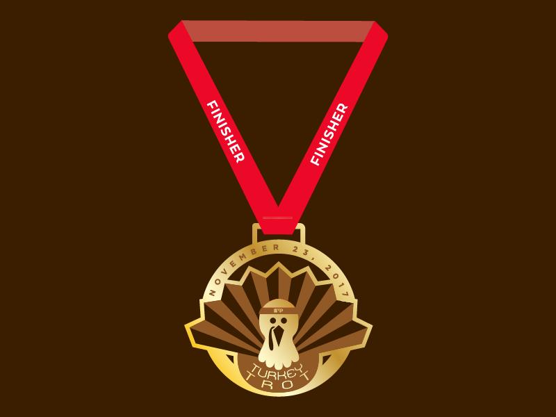 Turkey Trot Medal running marathon 5k turkey trot thanksgiving turkey medal minnesota logo race