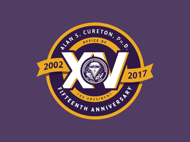 President's Anniversary Badge 2017 ribbon logo badge school president 15 roman numerals yellow purple university college
