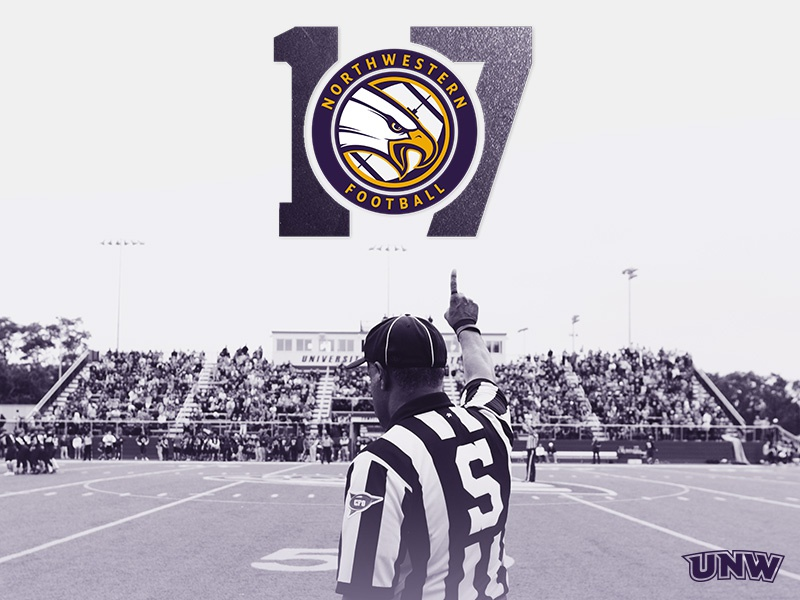 UNW Football 2017 circle roundel eagle minnesota university stadium referee purple sports college football
