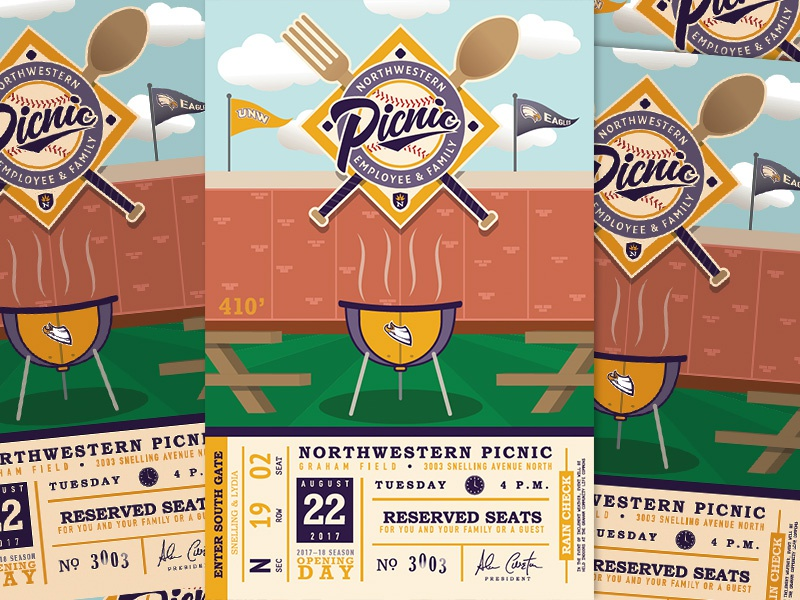 UNW Picnic Postcard Invitation spoon fork badge logo print postcard grill baseball picnic college