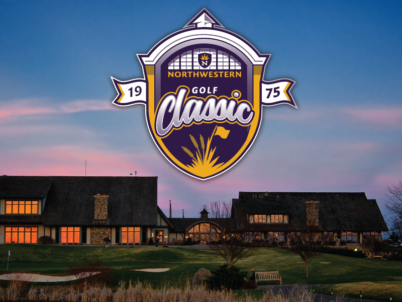Northwestern Golf Classic event tournament building roof script purple university sports flag badge logo golf