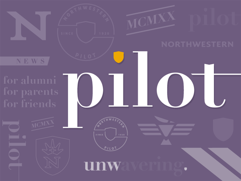 """Pilot"" magazine masthead & brand elements for UNW eagle university purple didot shield wordmark masthead"