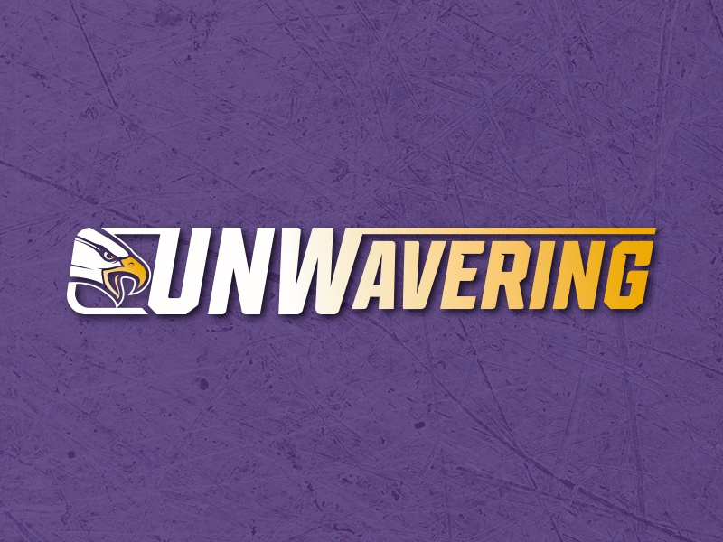 UNWavering gold purple tagline college eagle wings sports university