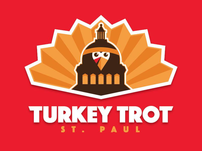 Turkey Trot St. Paul minnesota orange feathers thanksgiving bird capitol turkey logo brand event run race