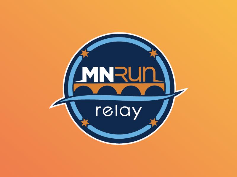 MNRUN Relay Logo stars blue brand event race run river bridge badge logo minnesota