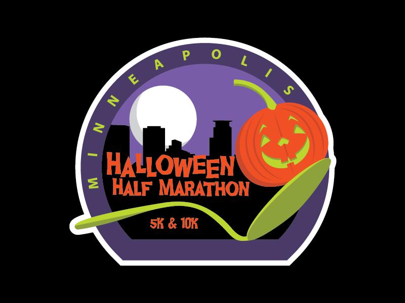 Minneapolis Halloween Half Marathon Logo moon skyline cherry spoon halloween pumpkin run event race marathon minneapolis minnesota
