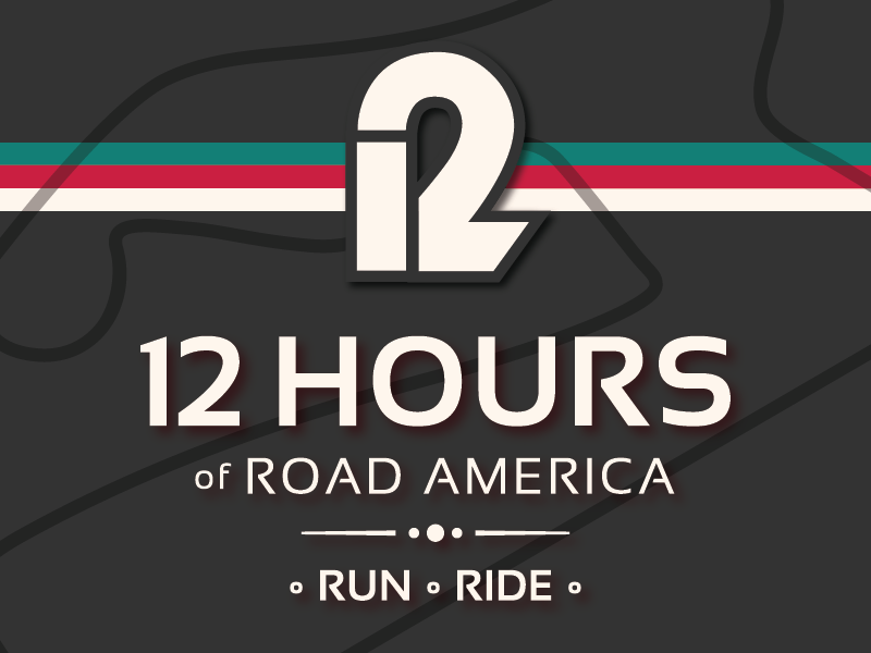 12 Hours of Road America 12 running racer r cycling racetrack event run wisconsin race logo